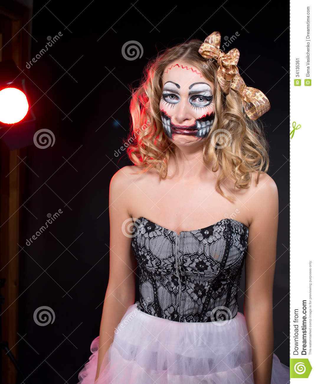 Offended Woman Wearing As CHucky Doll . Halloween Stock Image ...