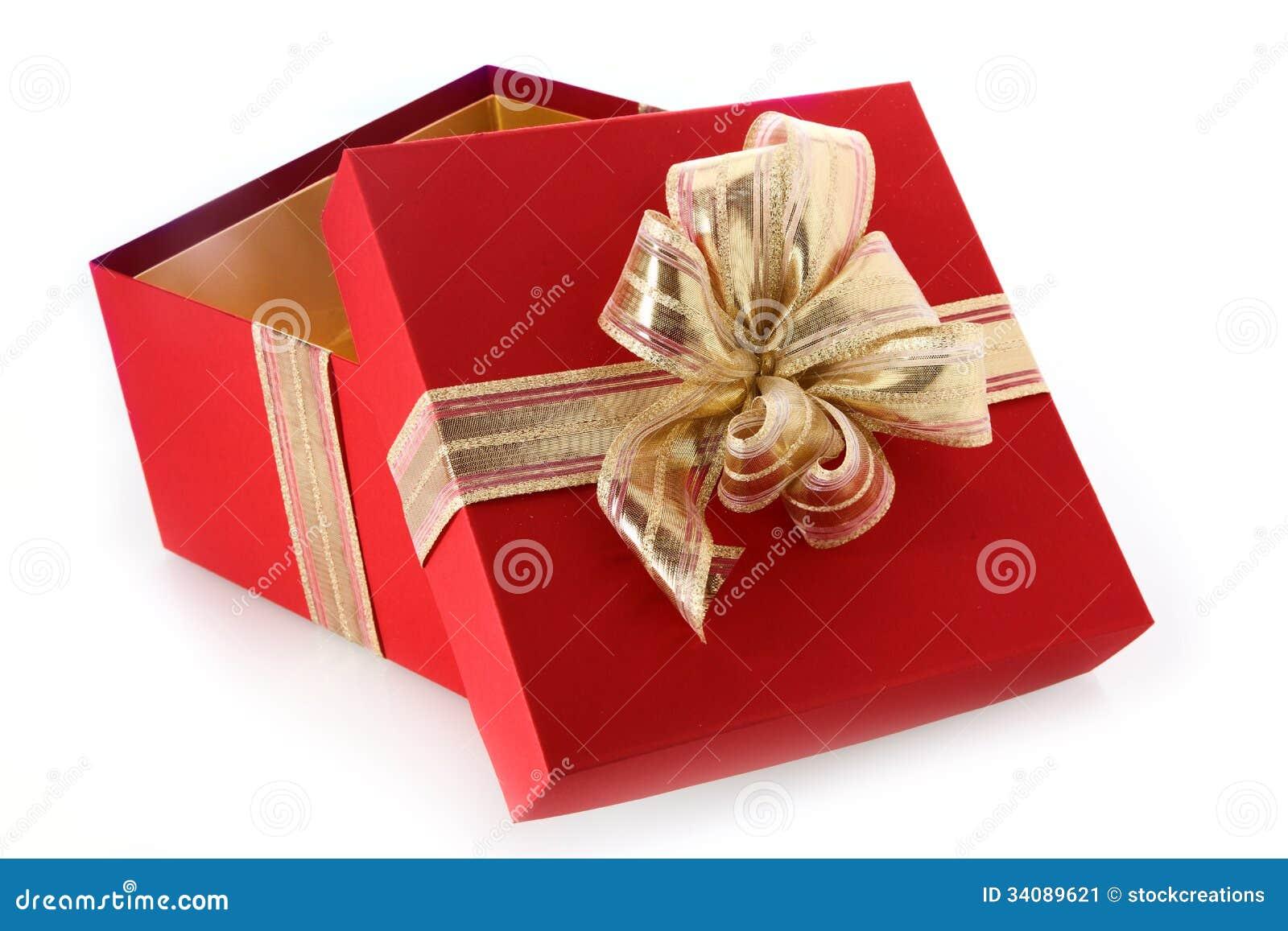 offene geschenkbox mit gekipptem deckel und goldbogen stockbild bild 34089621. Black Bedroom Furniture Sets. Home Design Ideas