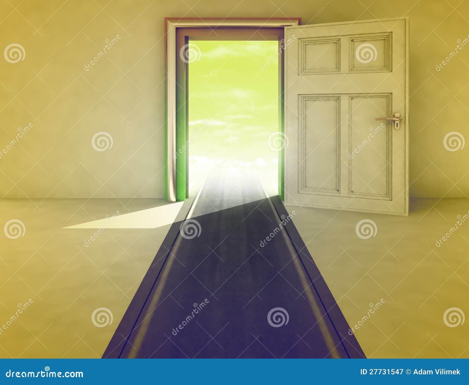 Offene Tür mit Datenbahnpfad