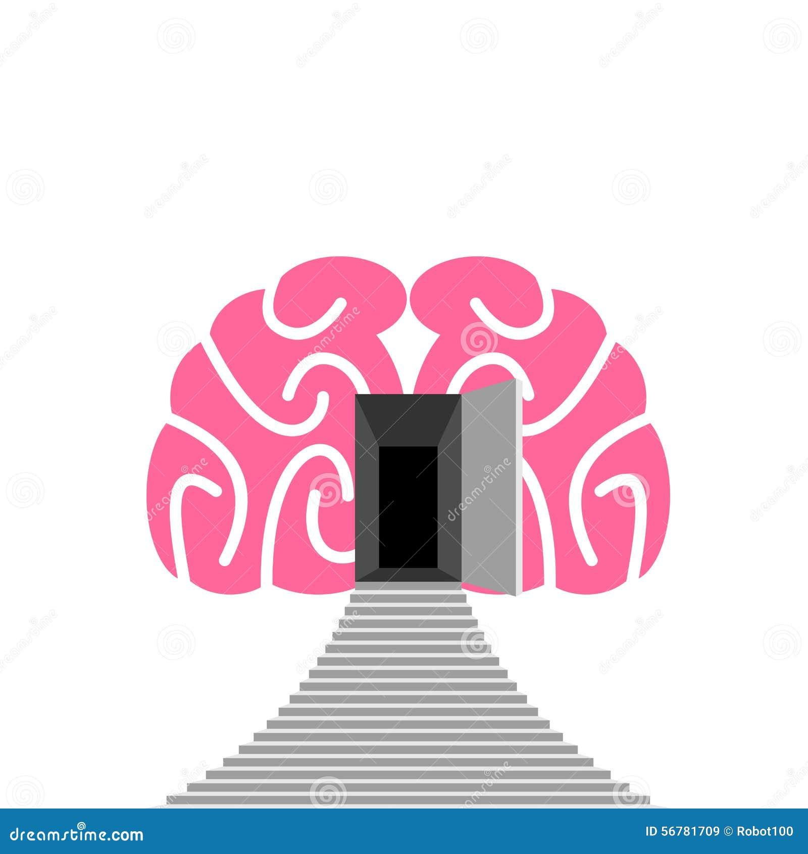 Offene Tür und Schritt des menschlichen Gehirns Eingang in unterbewusstes