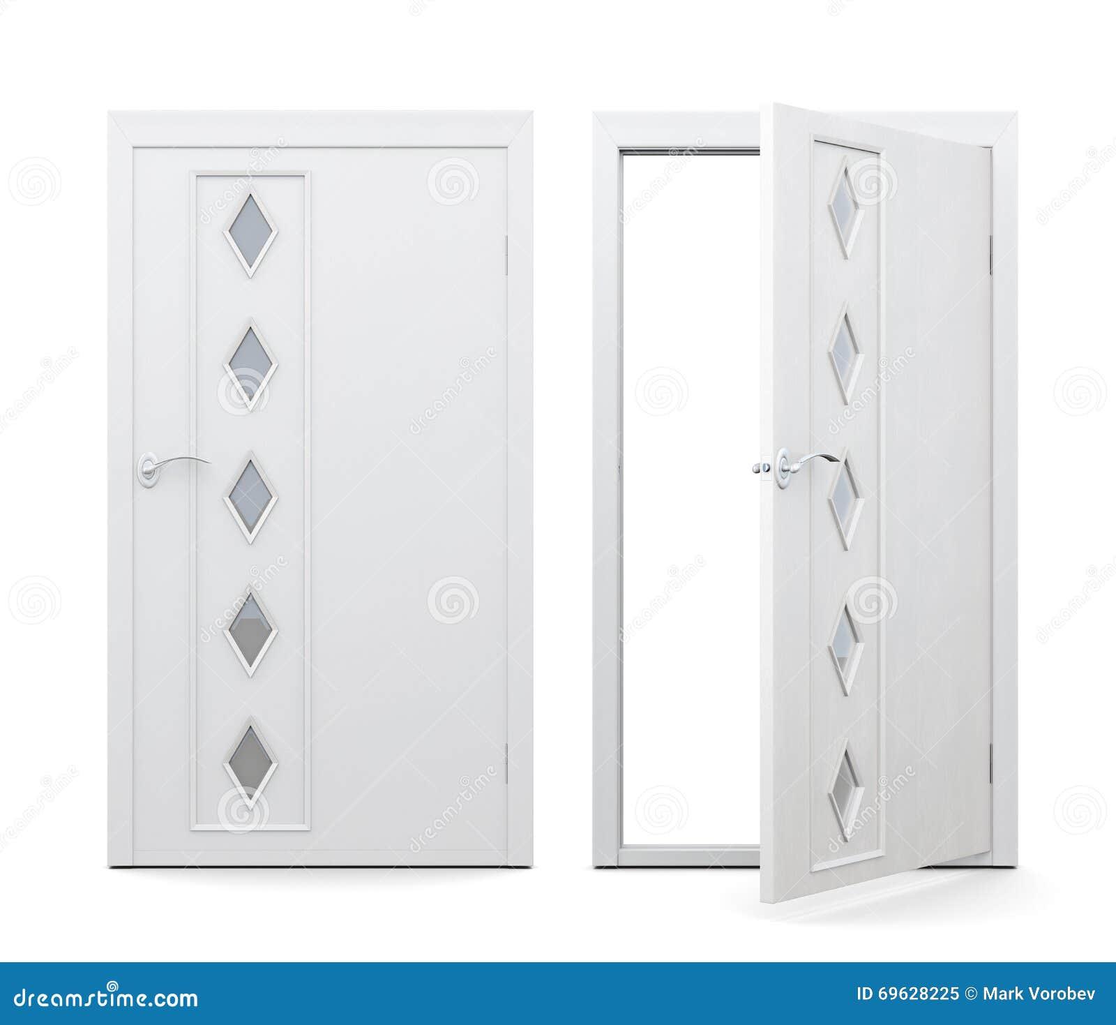 Geschlossene tür zeichnung  Offene Und Geschlossene Tür Auf Weißem Hintergrund Wiedergabe 3d ...