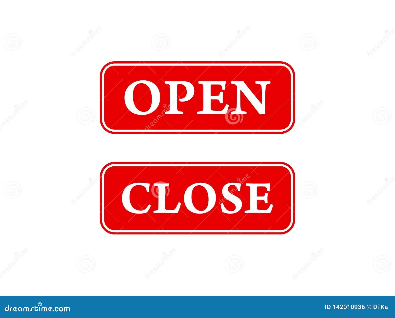 Offene und nahe Ikonen für Türen, Geschäftsfenster, Arbeitsplätze und mehr