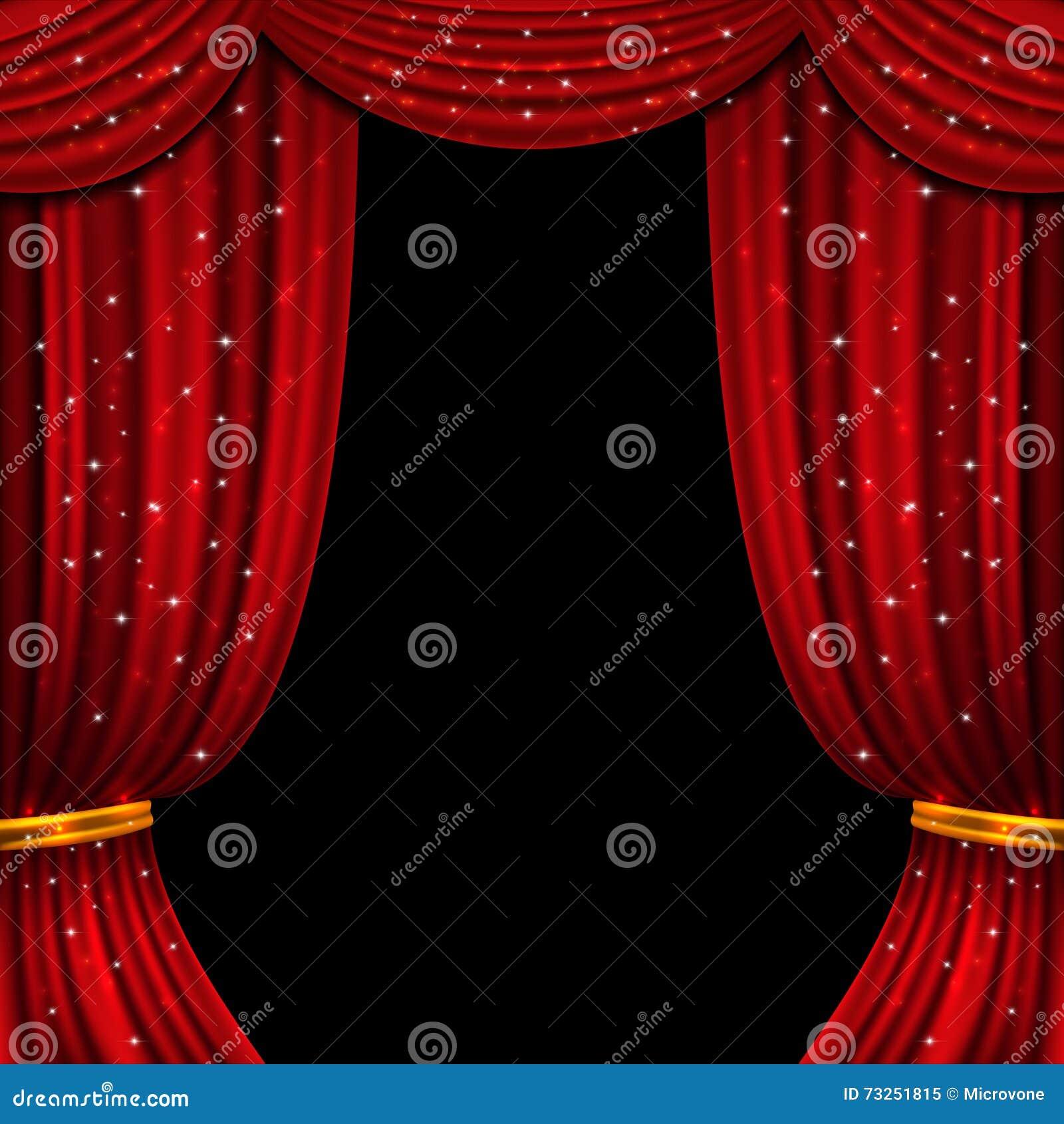 Offener Vorhang Des Rotes Mit Funkelnden Lichtern Es Kann Für ...