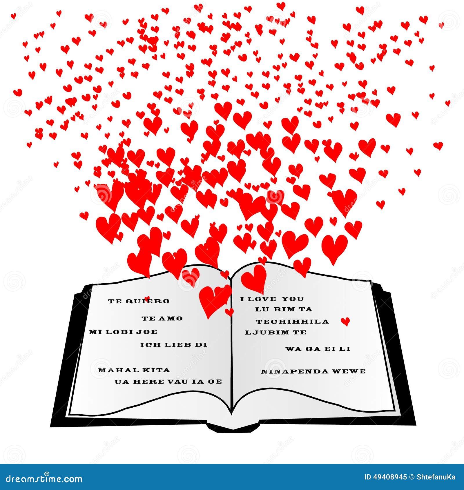 Download Offenes Buch Mit Fliegenherzen Und Ich Liebe Dich Stockbild - Bild von fahne, auslegung: 49408945
