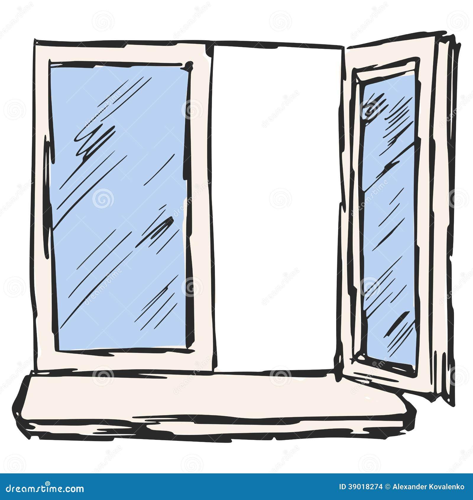 Offenes Fenster Gezeichnet
