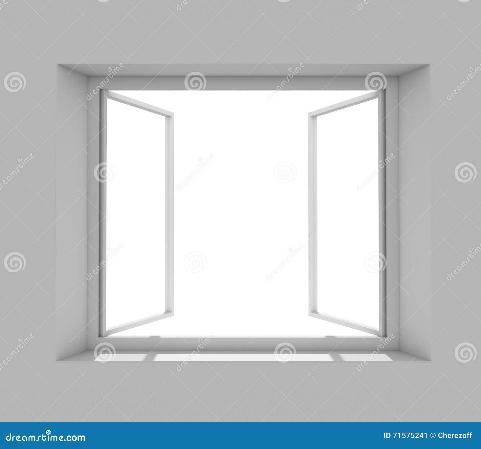 Offenes fenster von außen  Offenes Fenster Auf Grauer Wand Stock Abbildung - Bild: 71575241
