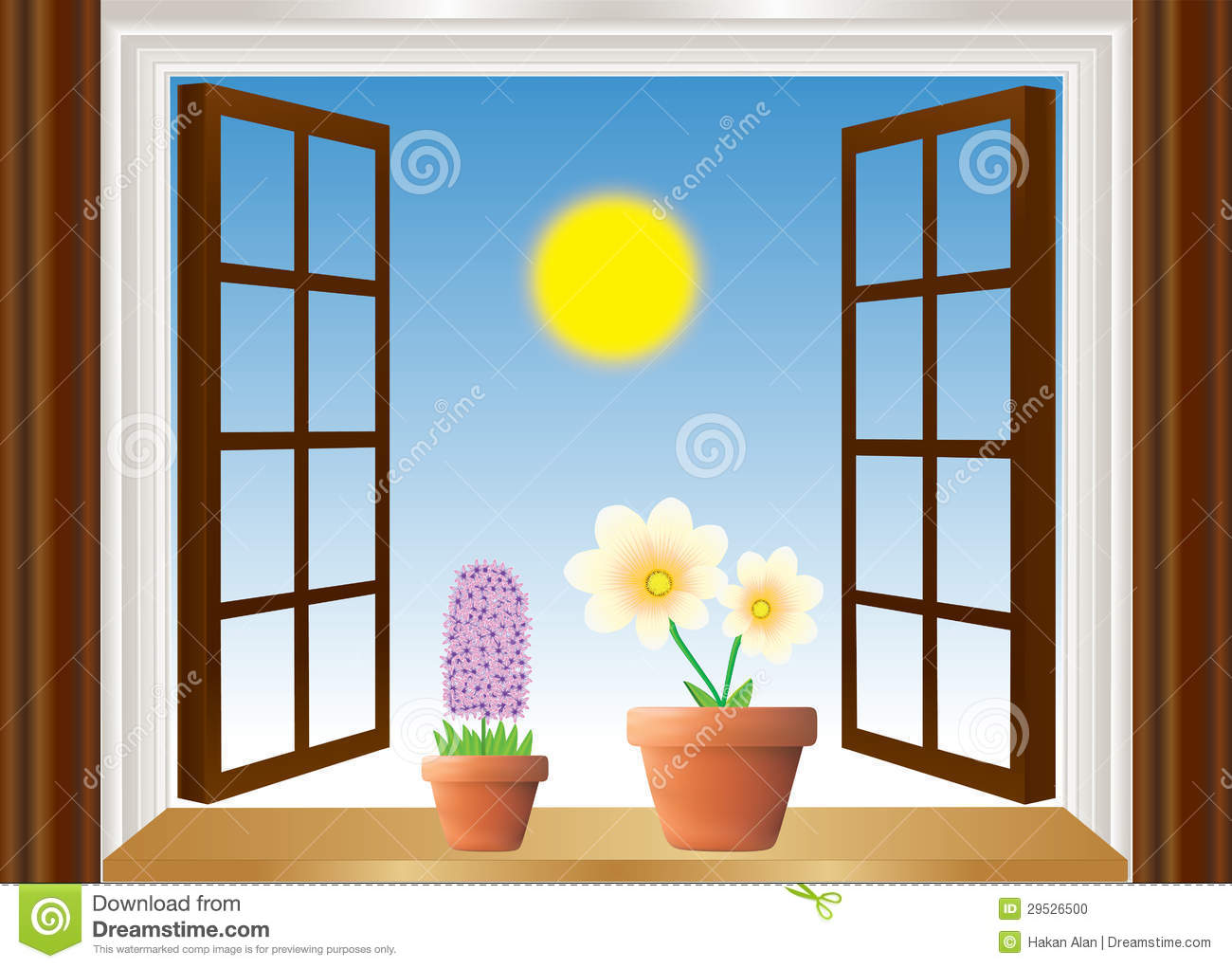 offenes fenster mit blumen vektor abbildung illustration. Black Bedroom Furniture Sets. Home Design Ideas