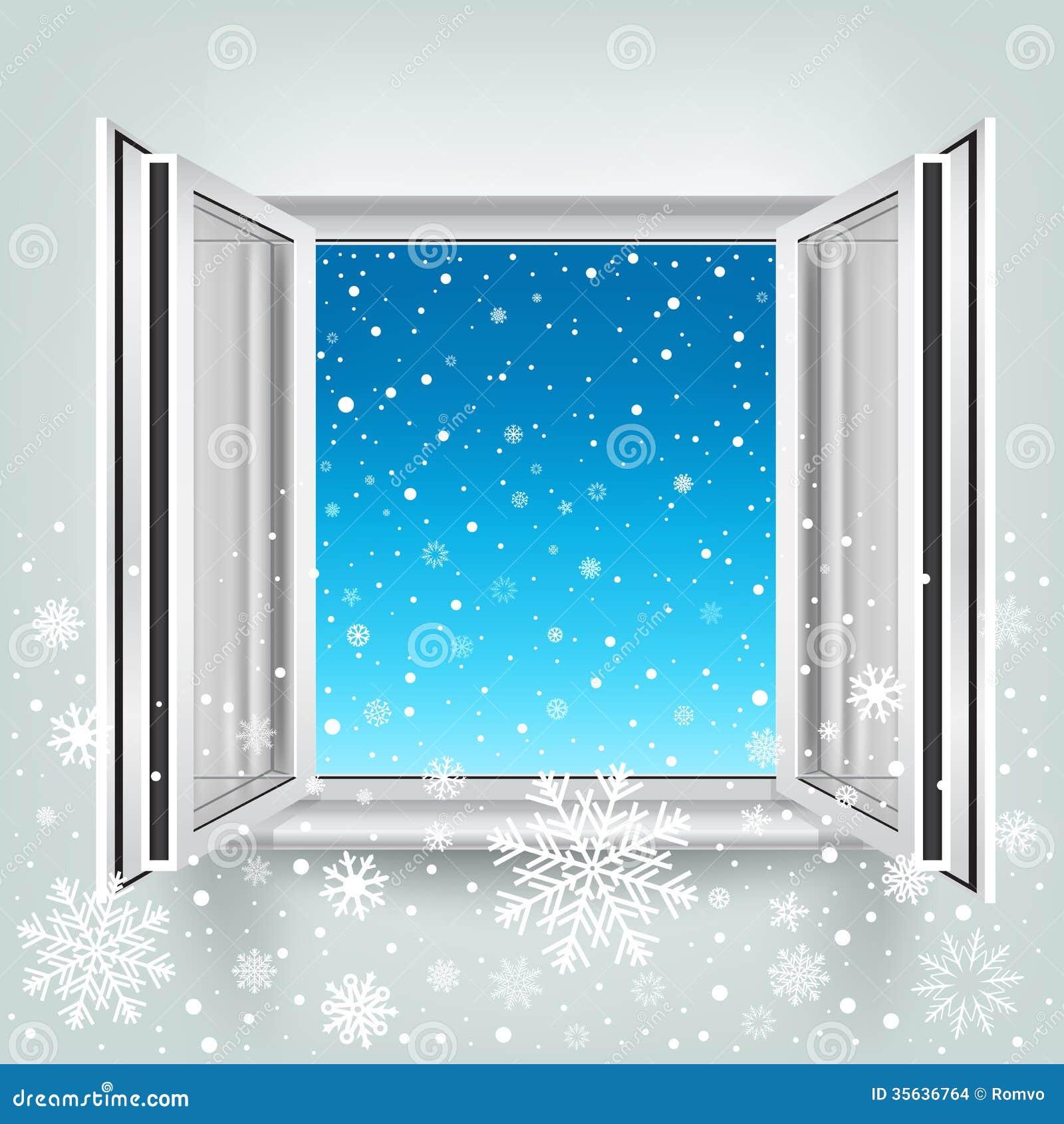 Offenes fenster im winter  Offenes Fenster Und Schnee Stock Abbildung - Bild: 46286200