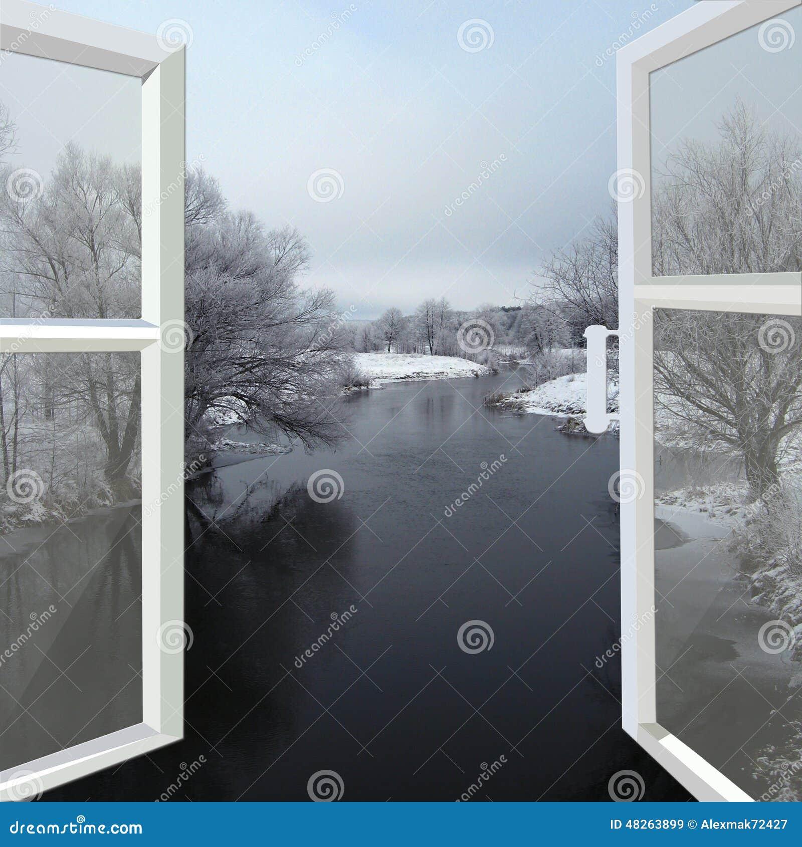 Offenes fenster im winter  Offenes Fenster Zum Winterfluß Stockfoto - Bild: 48263899
