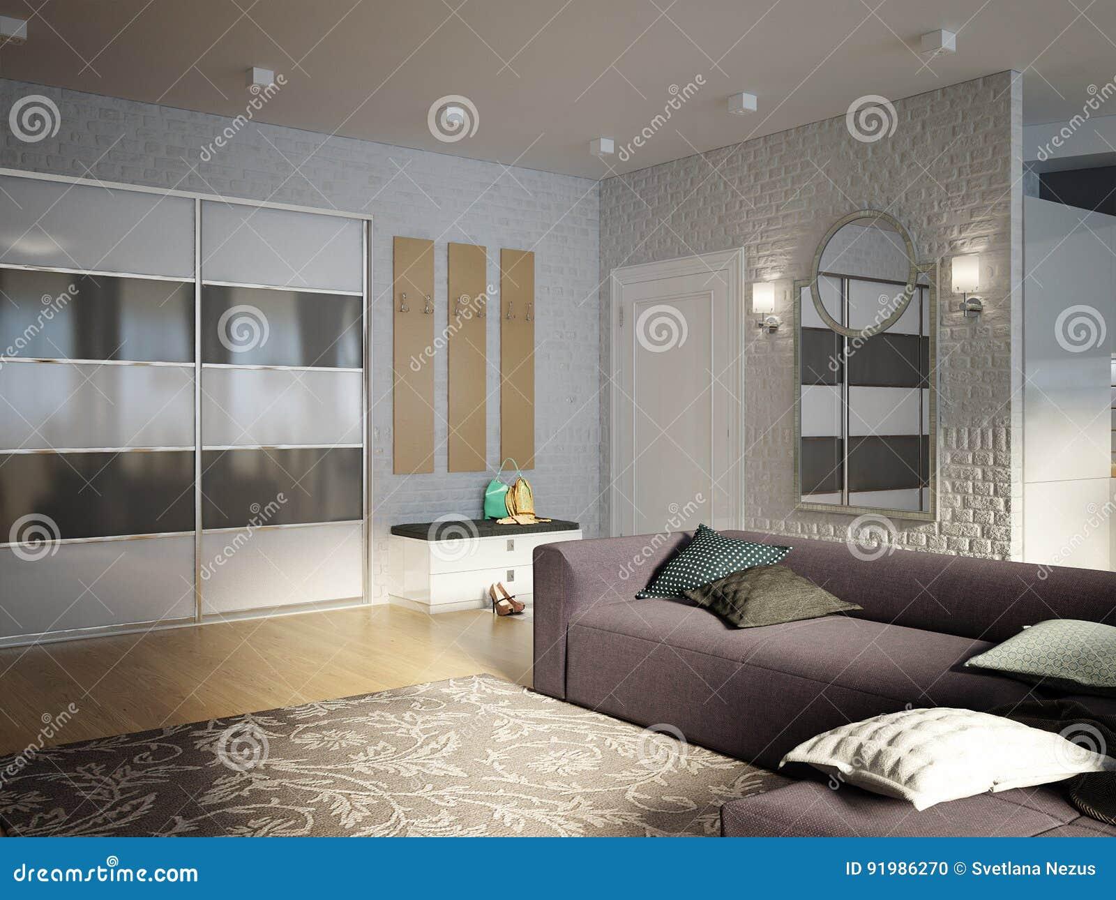 Offenes Wohnzimmer Des Modernen Stadtischen Zeitgenossischen Studios Esszimmer Stock Abbildung Illustration Von Studios Zeitgenossischen 91986270