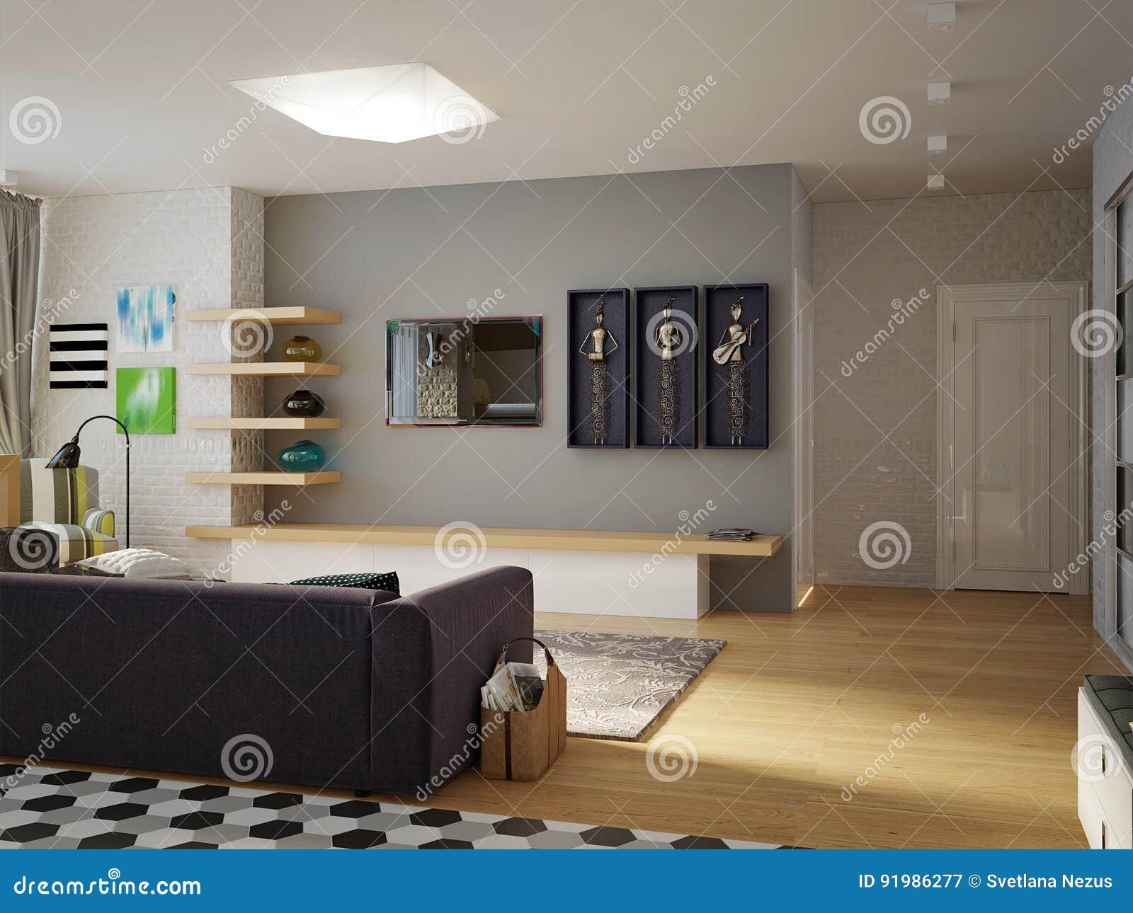 Offenes Wohnzimmer Des Modernen Stadtischen Zeitgenossischen Studios Esszimmer Stock Abbildung Illustration Von Studios Zeitgenossischen 91986277