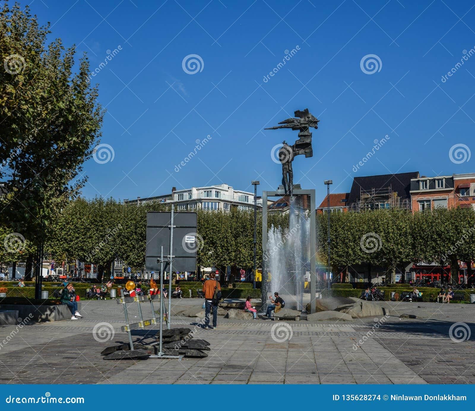 Offentlig fyrkant i Bruges, Belgien