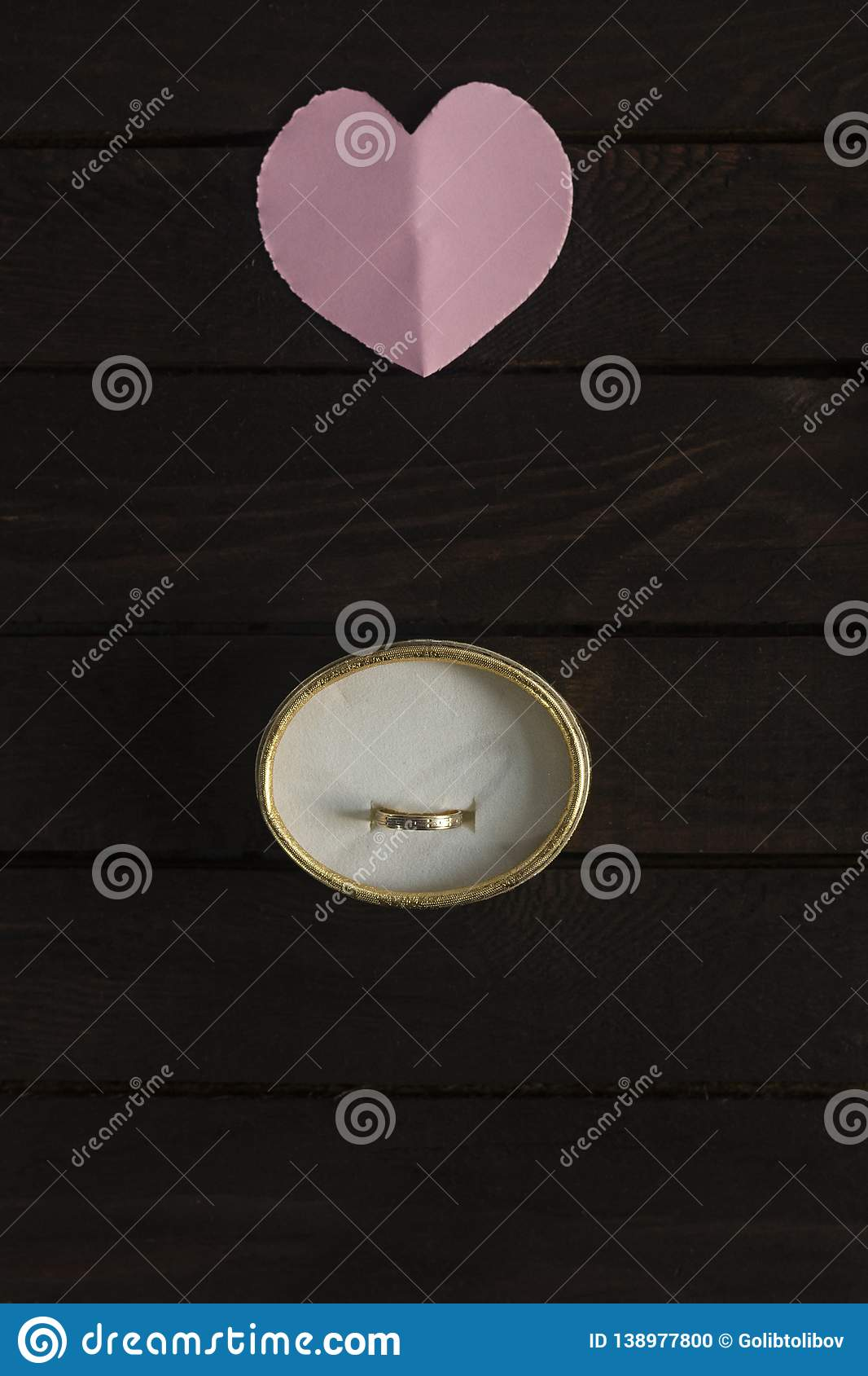 Offer of marriage. Flat lay romantic background.