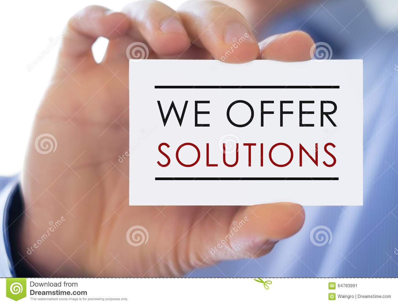 We offer solutions stock image. Image of concept, business - 64783991