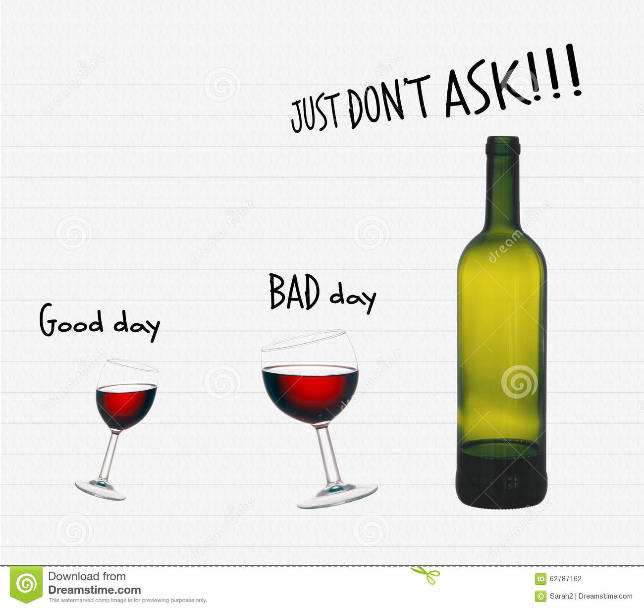 Office alcohol, red wine. Good day, bad day. Humour, fun.