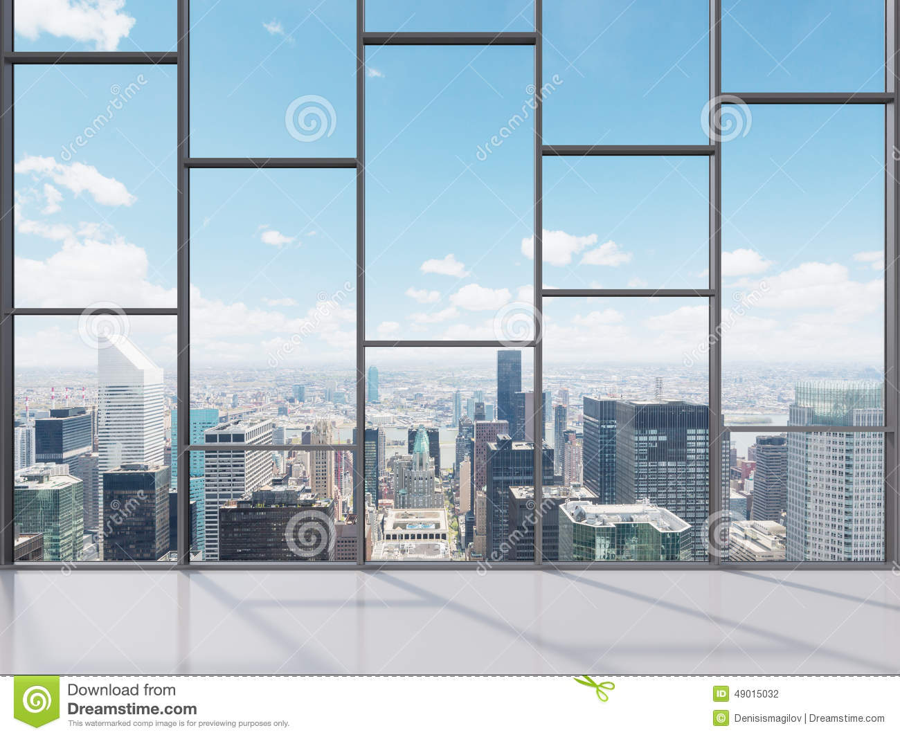 Office With Big Window Stock Illustration Image 49015032