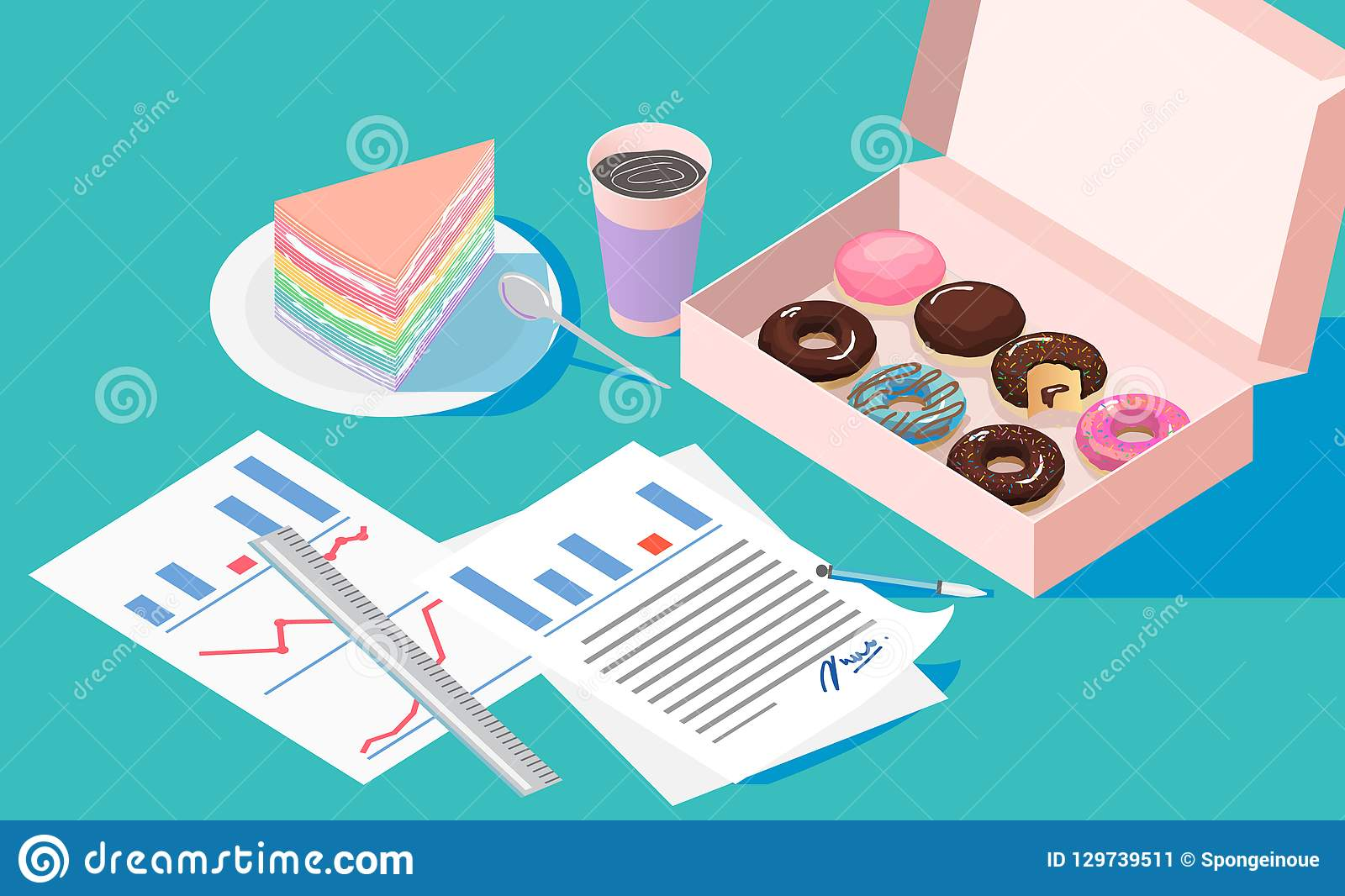 Office break and resting after solving task with Doughnut box crape cake and coffee cup