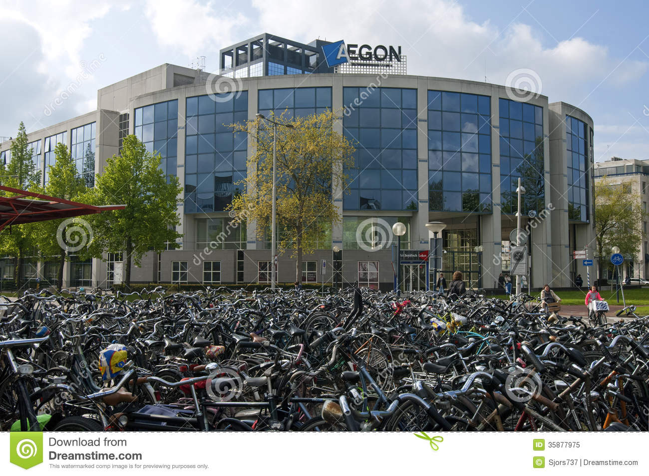 Office Building Aegon And Bike Shed Of Station Editorial
