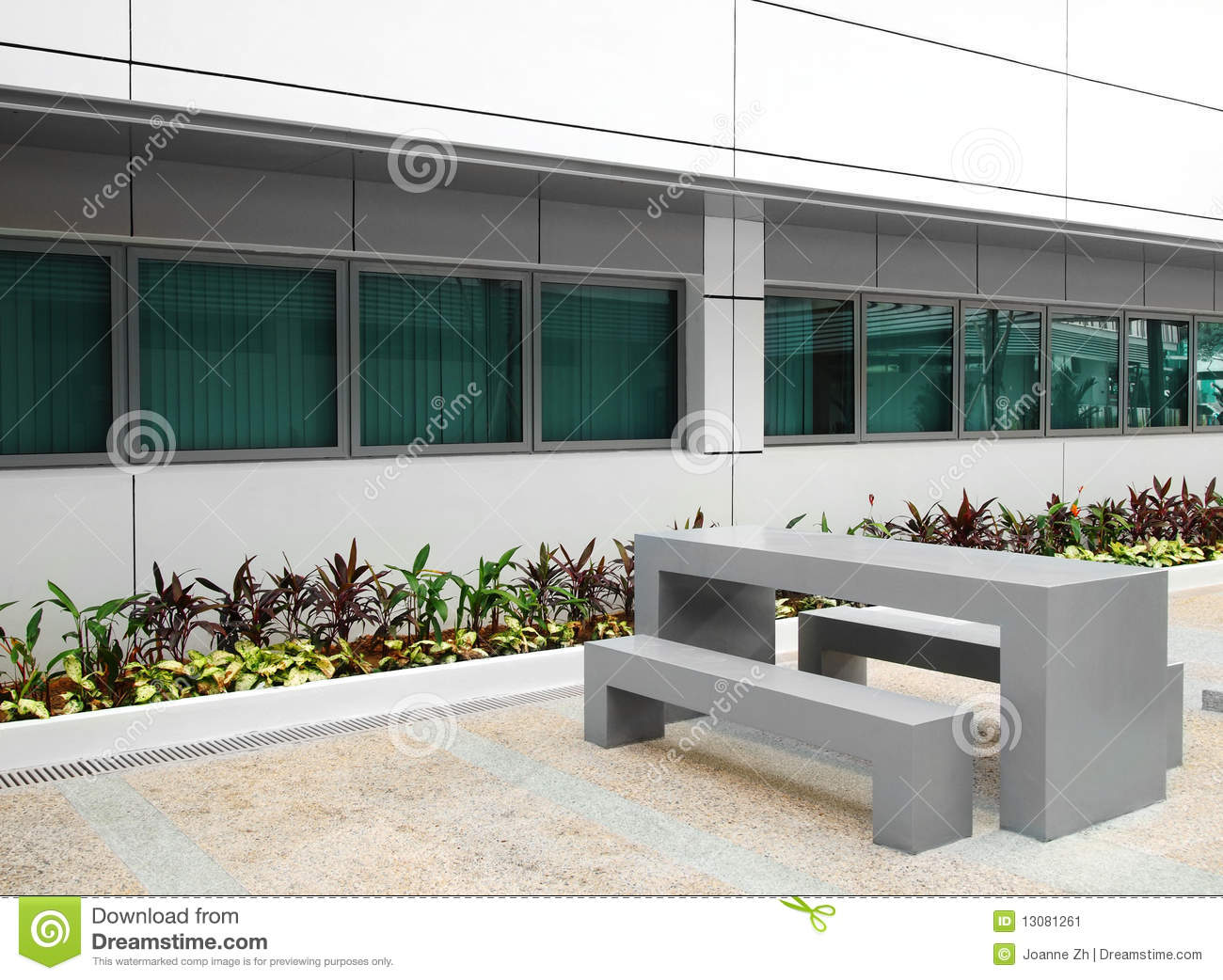 office building courtyard garden furniture stock image