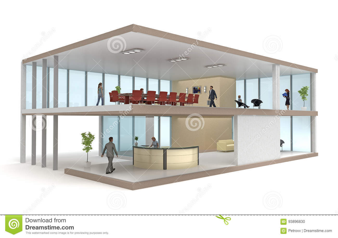 Cutaway Office Building Interior Design Plan Cartoon