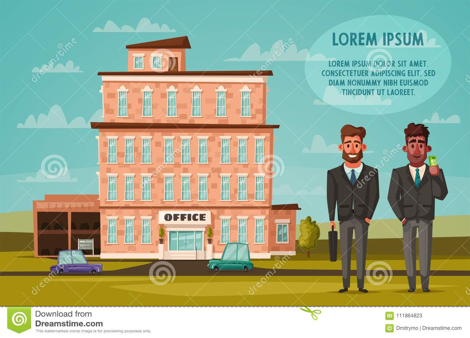 Office Building Facade Buisness Concept Exterior Of House Cartoon