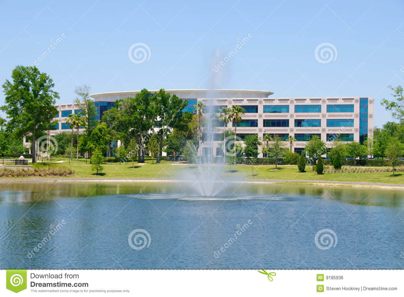 Office Building with Fountain