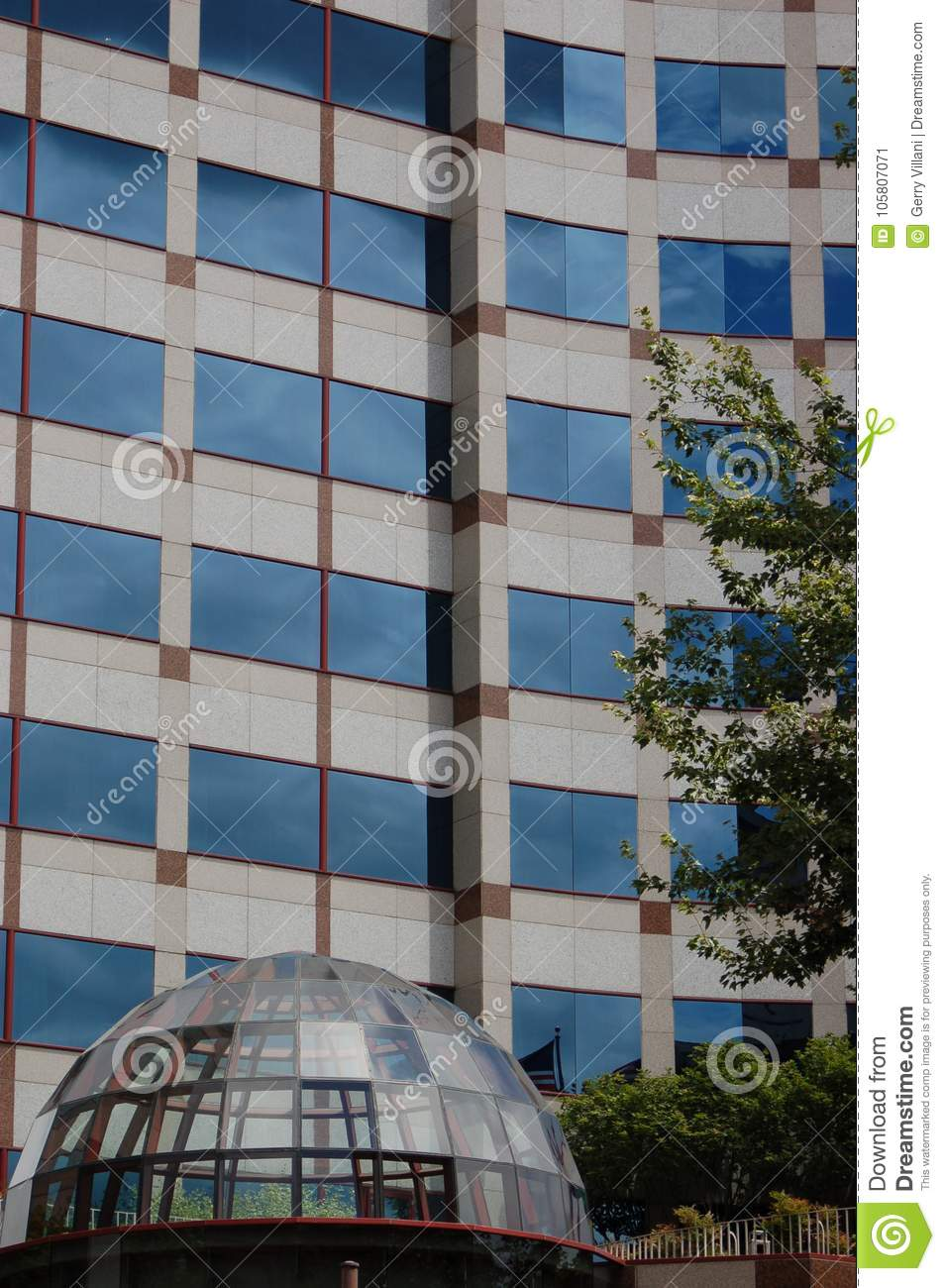 Office Building with Glass Dome Entrance, Portland, Oregon