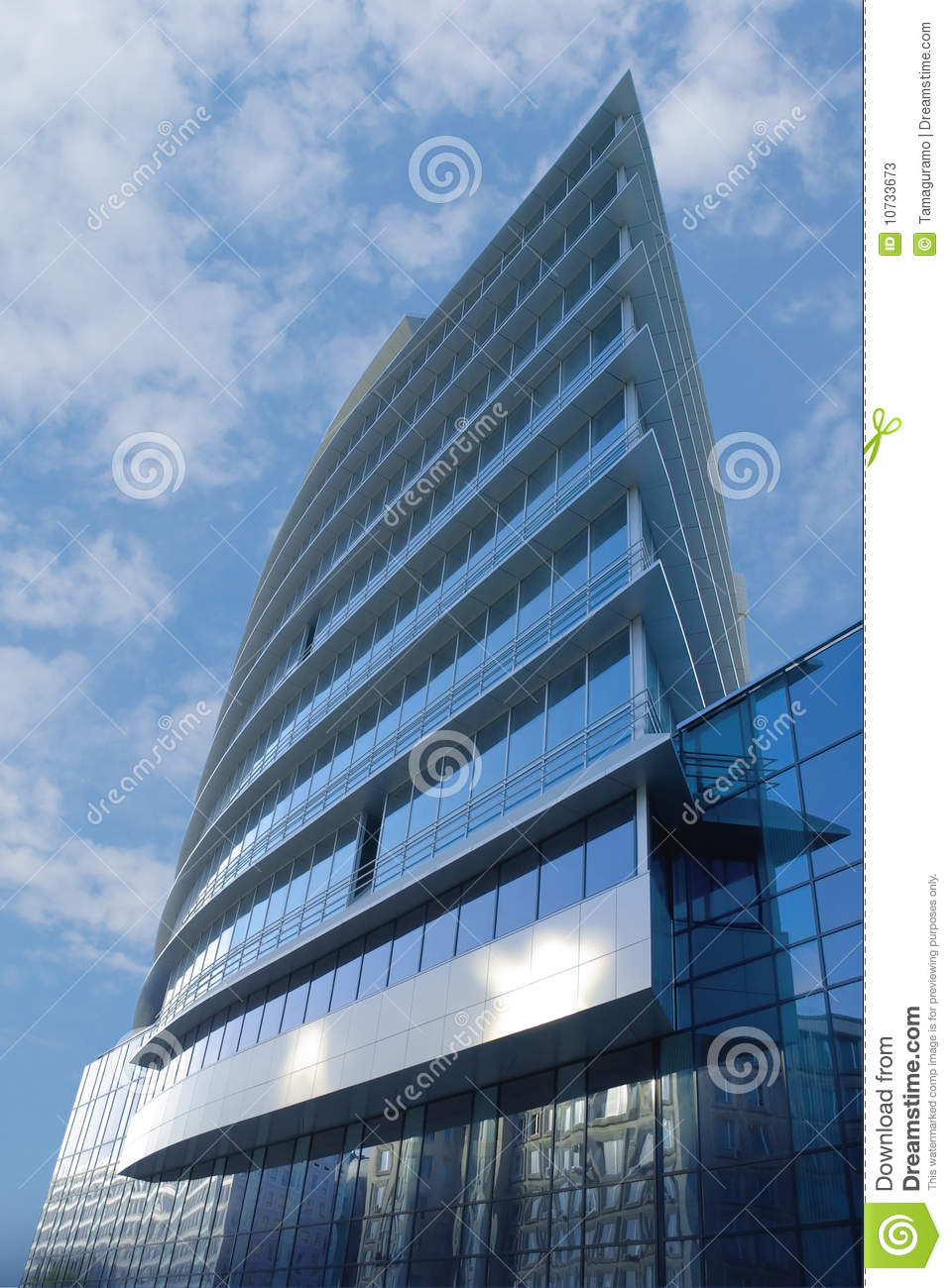 Low Angle View To Light Glass Buildings Of Business Center: Low Angle Stock Photos