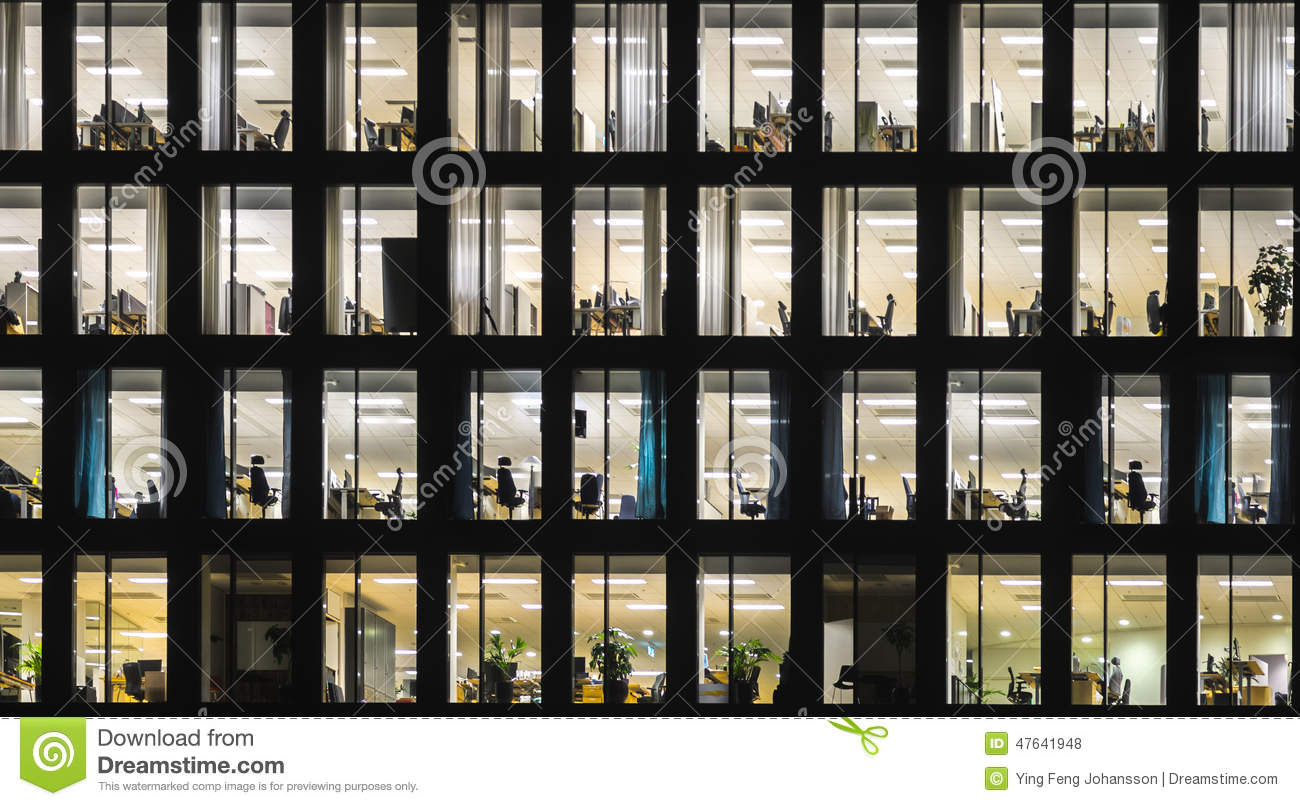 Office Window View Night : Office building at night stock photo image of modern