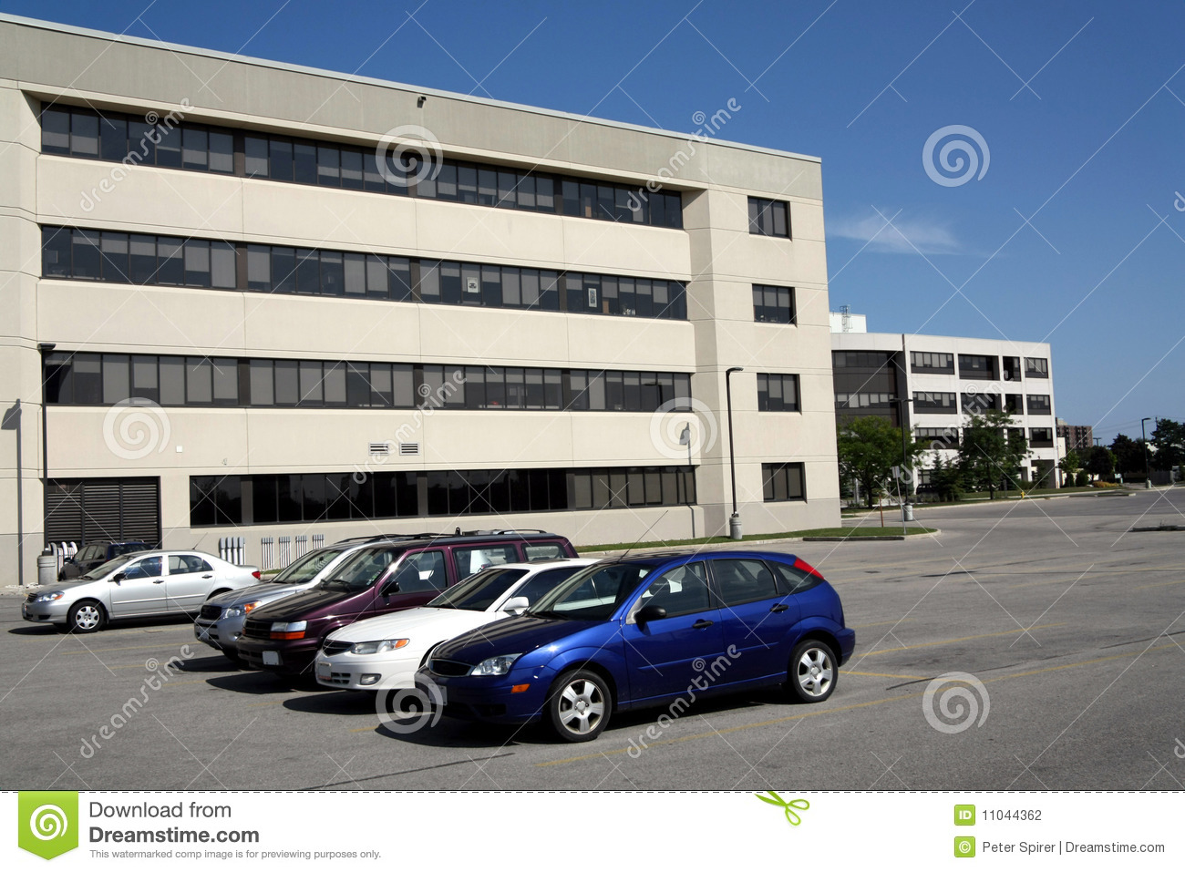 Office building and parking lot stock photography image Building on a lot