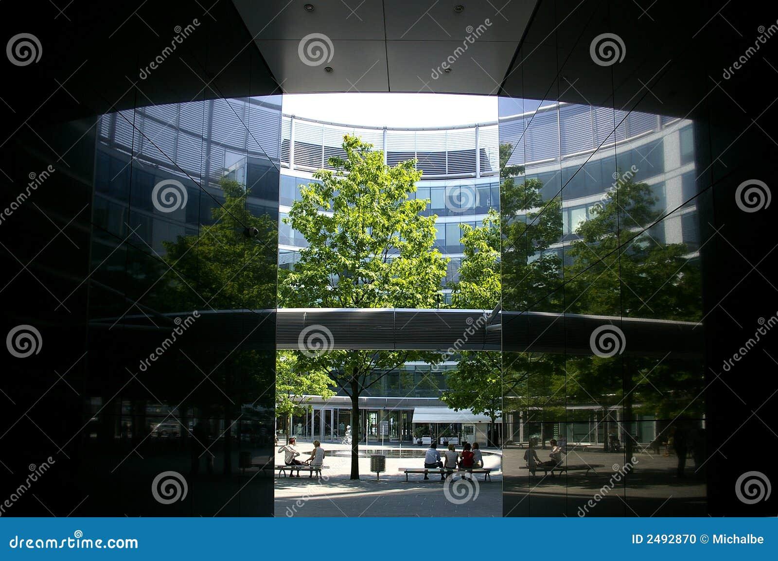 Office Building Patio Stock Photo