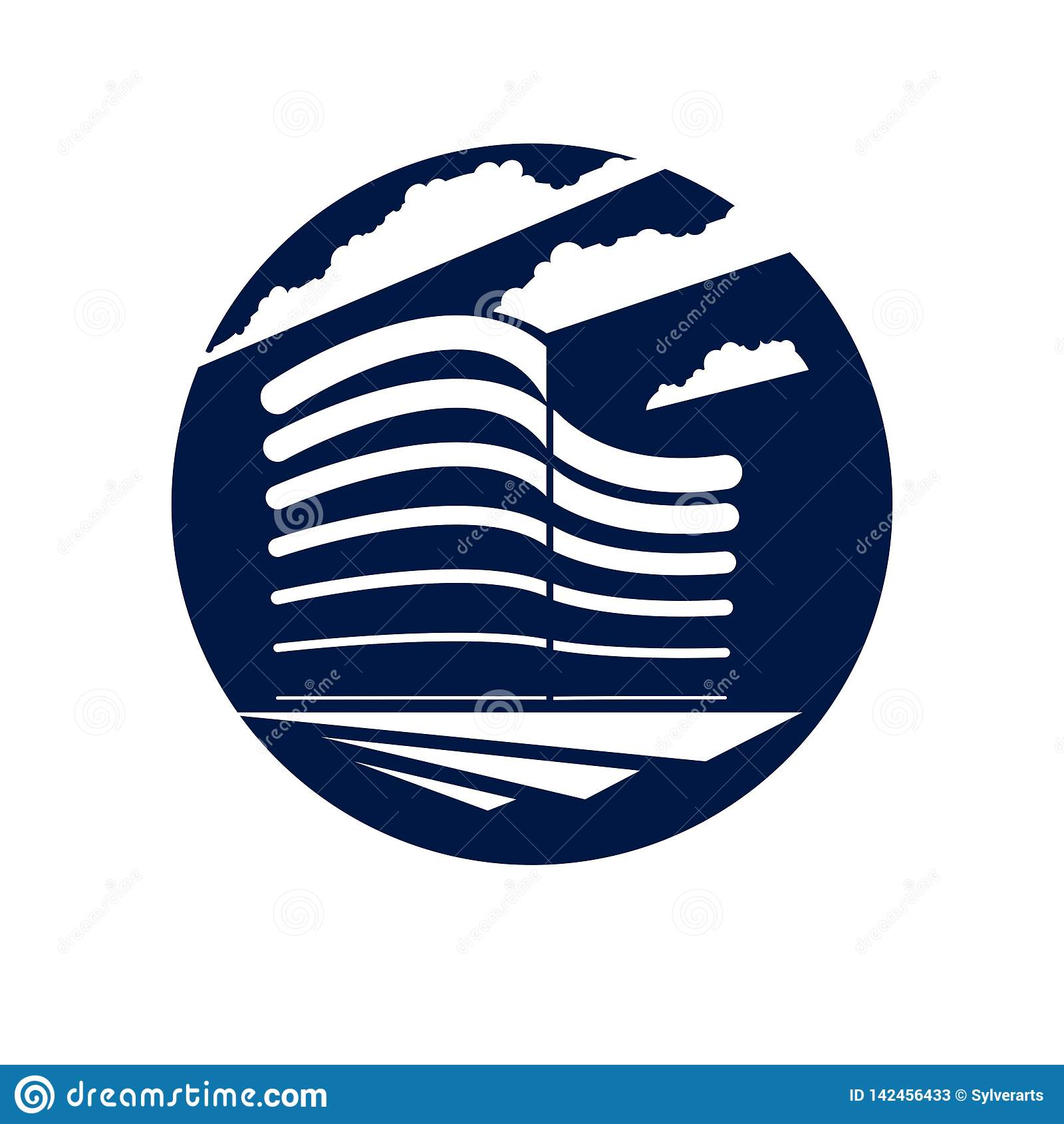 Office building round shape icon or logo, modern architecture vector illustration. Real estate realty business center design. 3D