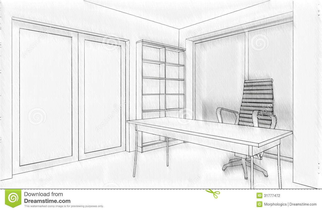 Drawing Lines In Office : Office building sketch stock photography image