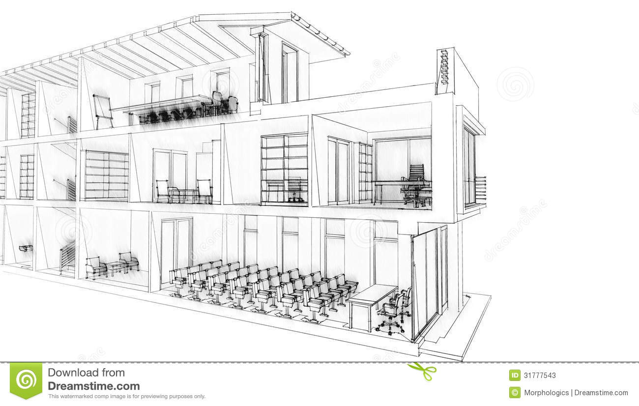 Stock Photos Office Building Sketch Black White Image31777543 on conference room plans