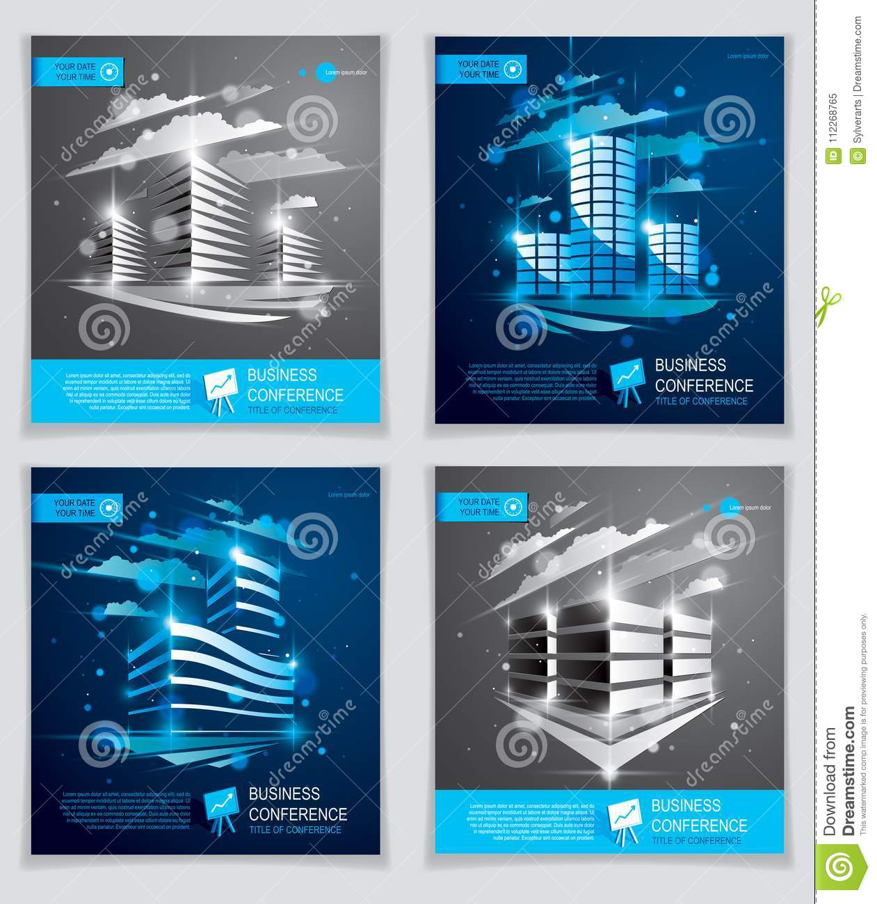 office buildings brochures set modern architecture vector flyer