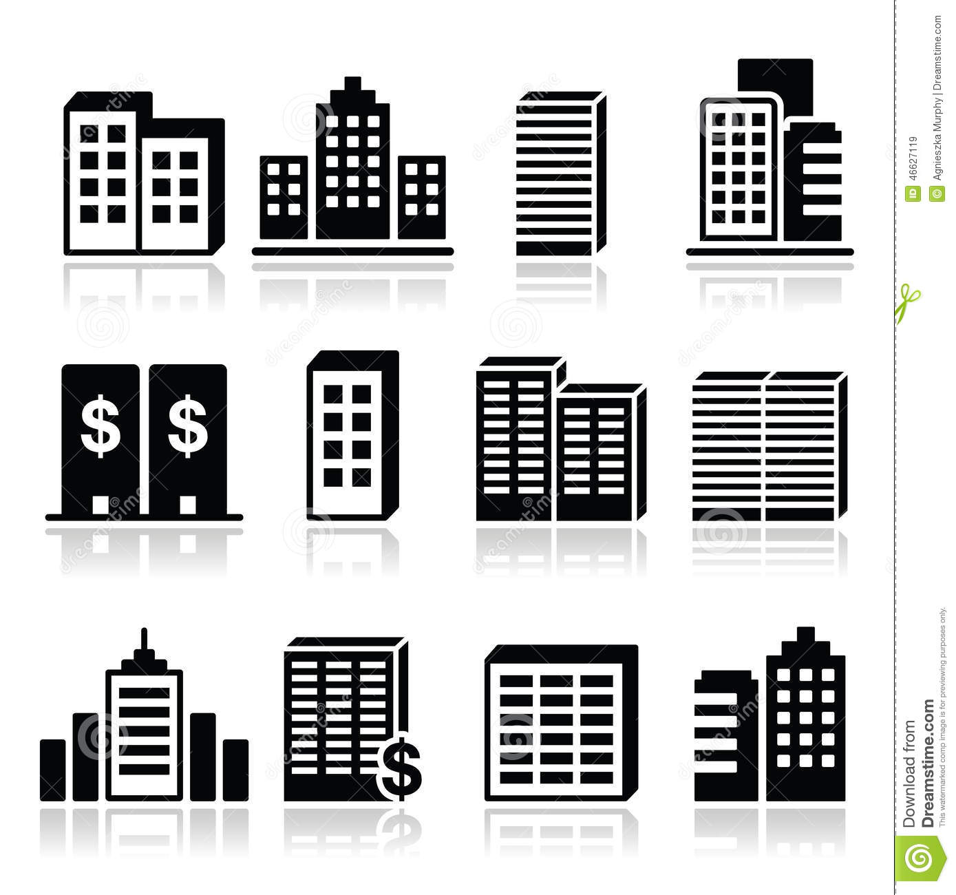 Office Buildings, Business Center Icons Set Stock Illustration ...