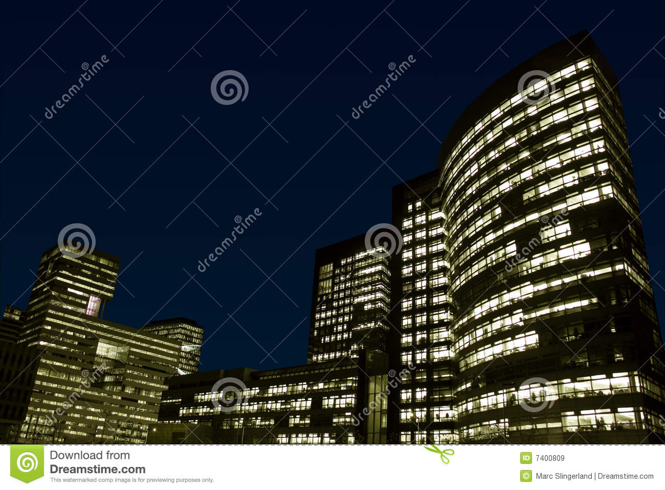 Office buildings at night.