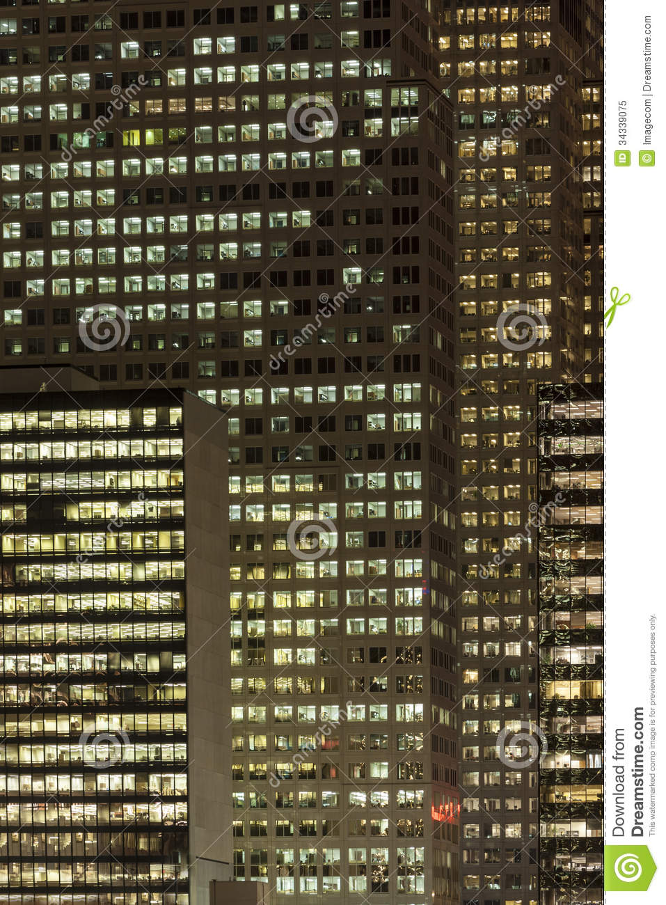 Office Buildings At Night Stock Image Image Of