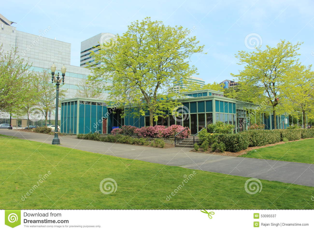 Landscape Glass Portland Oregon : Office buildings surrounding japanese garden royalty free stock