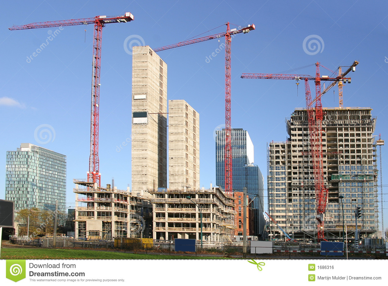 Office Buildings Under Construction Royalty Free Stock