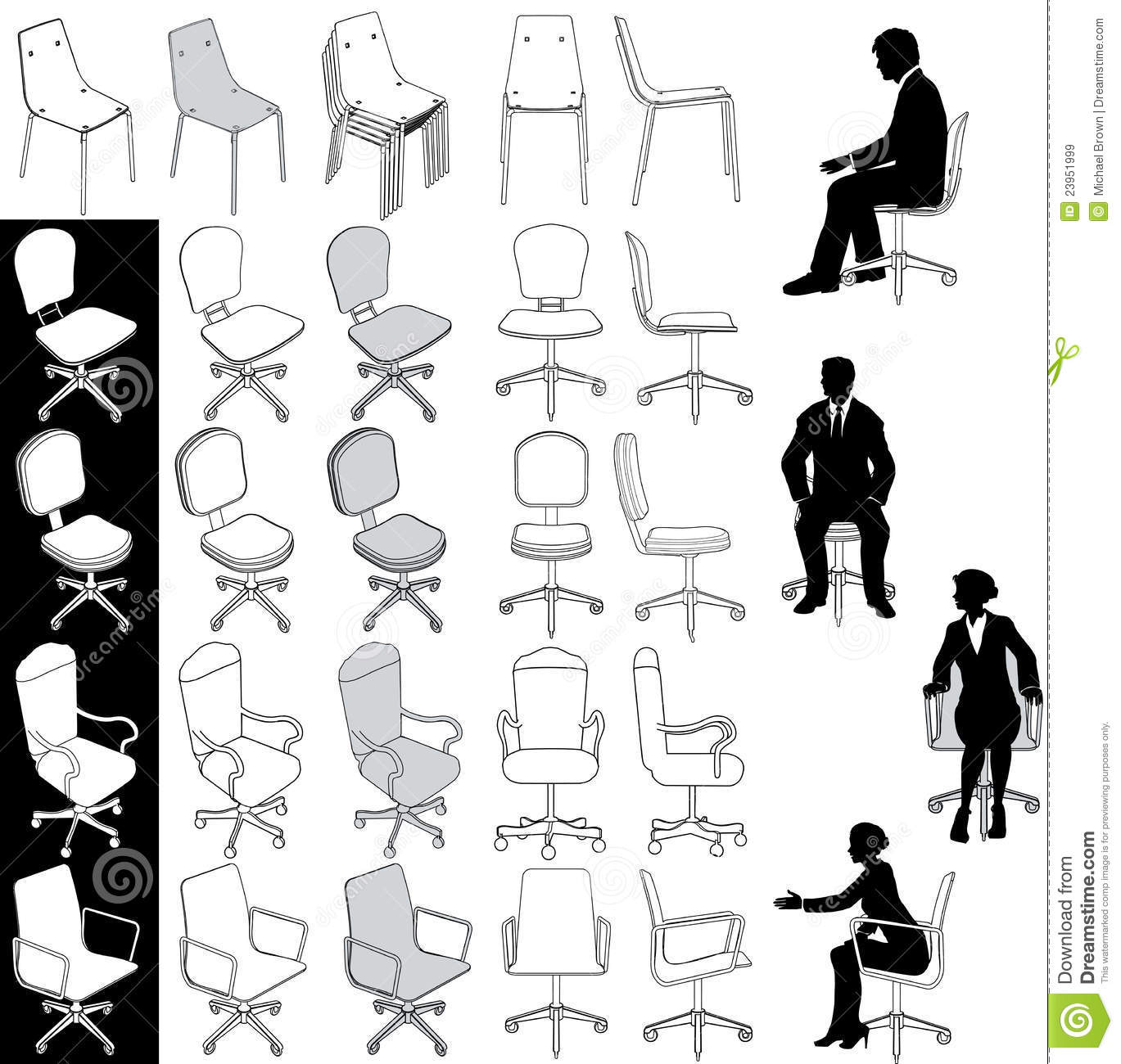 Office Business Chairs Furniture Drawings Set Royalty Free