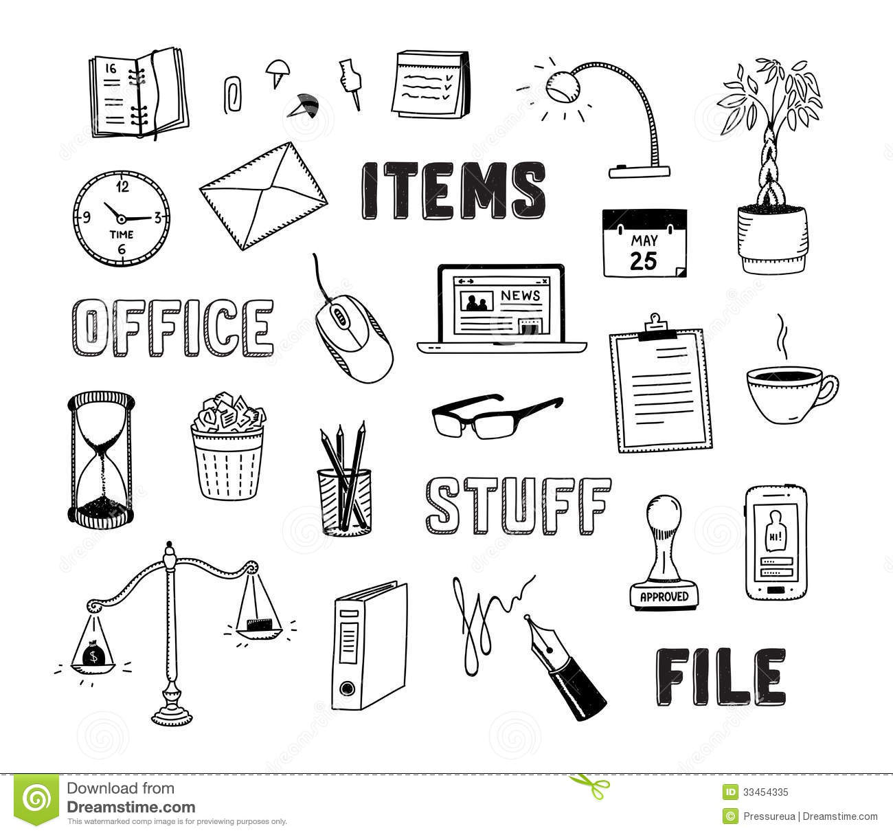 Vector collection of hand drawn doodles of business objects and office ...