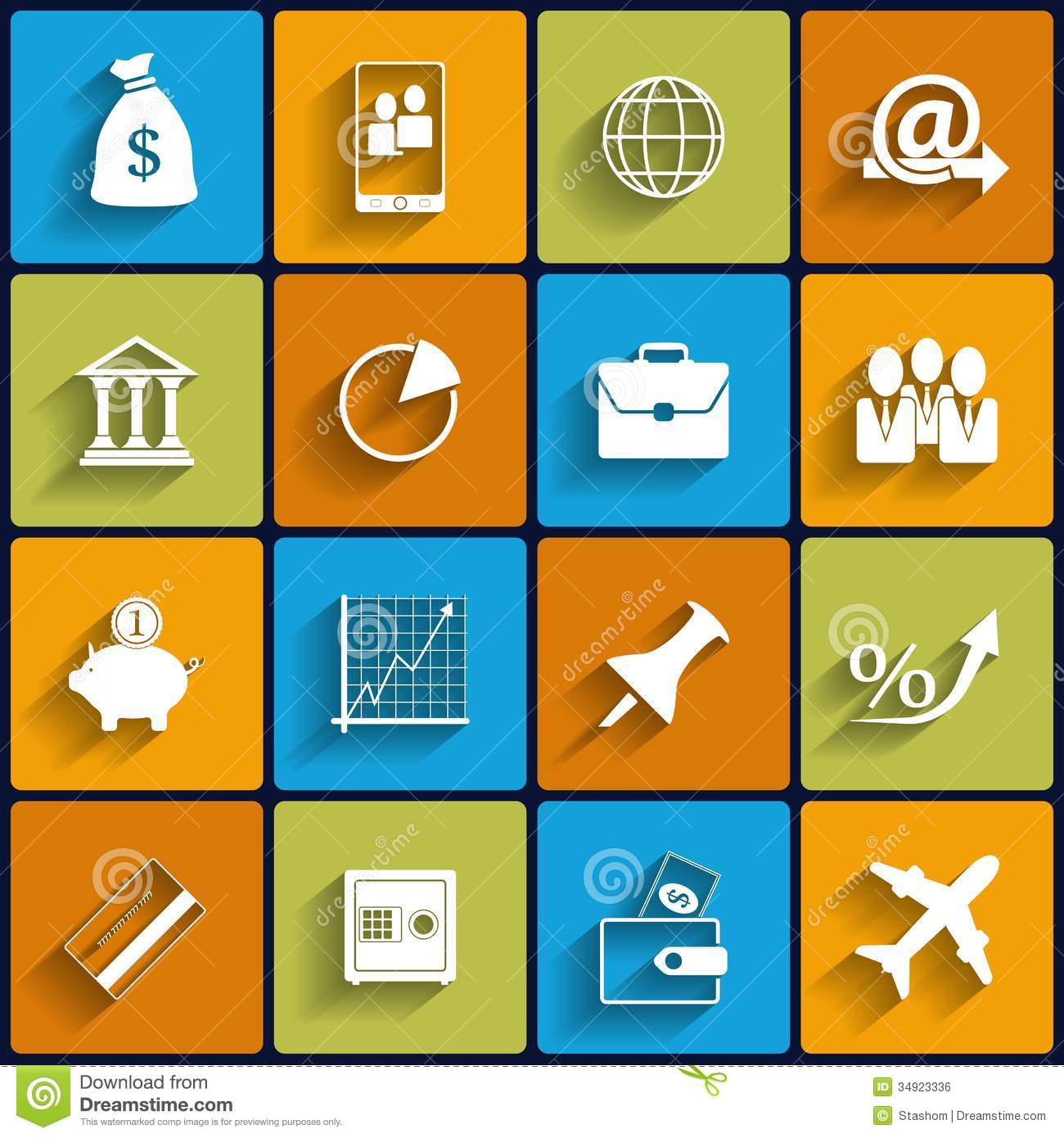 Office And Business Vector Flat Icons Royalty Free Stock Image ...