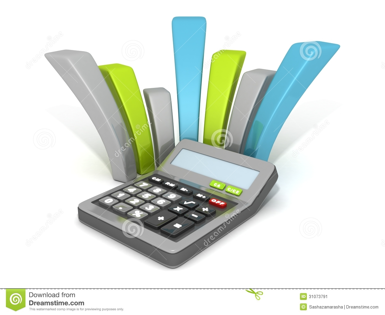 Office Calculator With Curved Financial Bar Chart Stock