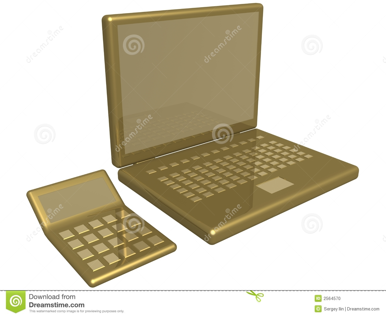 Office Calculator And Laptop Stock Photo Image 2564570