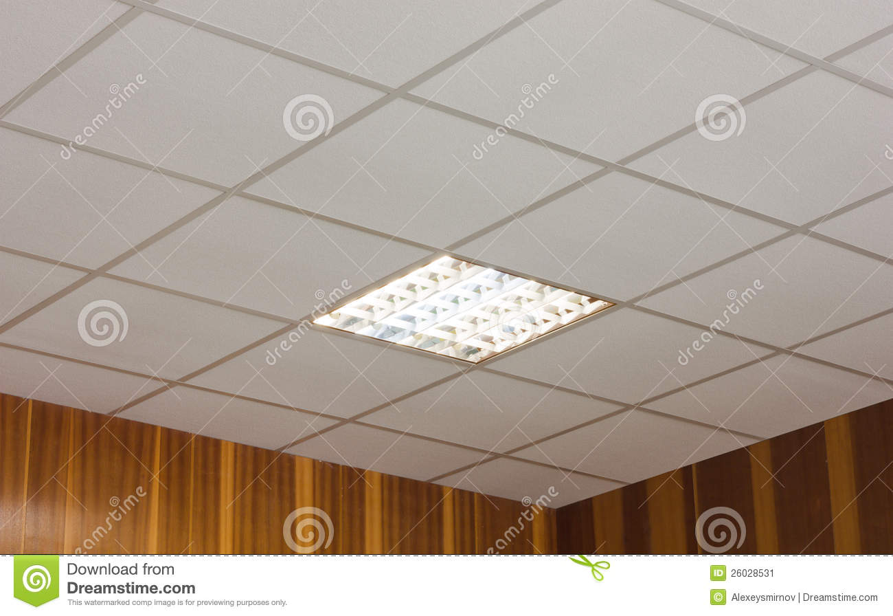 Office Ceiling With Built in Fluorescent Lamp Stock Image   Image