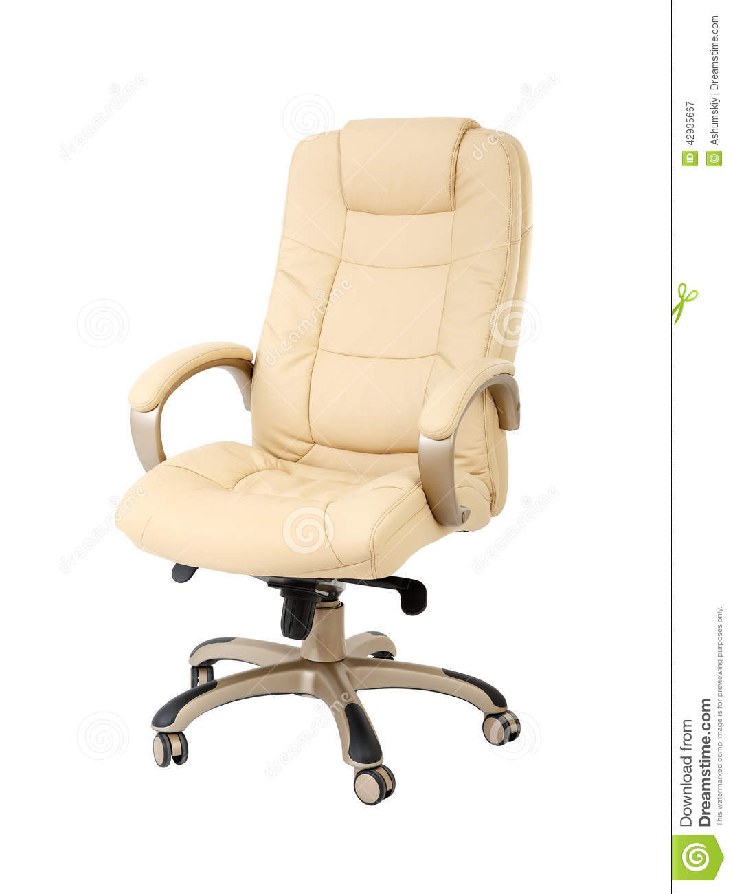 The Office Chair From Beige Leather Stock Image Image Of