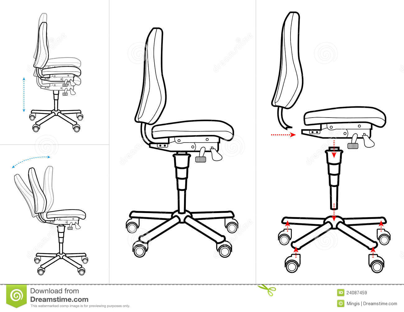 Office Chair Drawing Stock Vector Image Of Lift Print