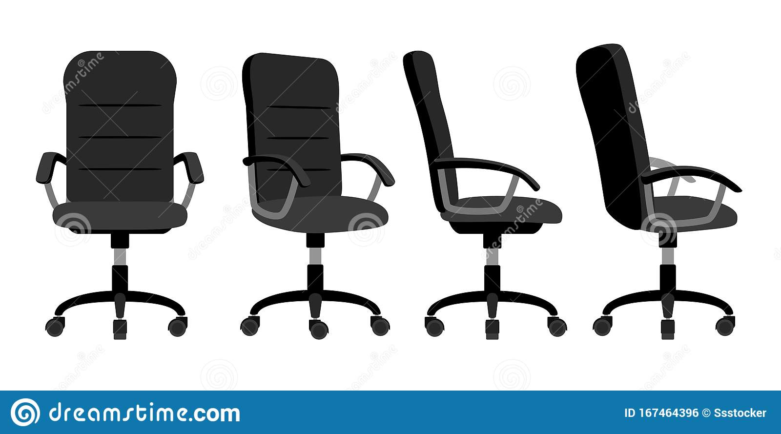Office Chair Front And Back Stock Vector Illustration Of Ergonomic Flat 167464396