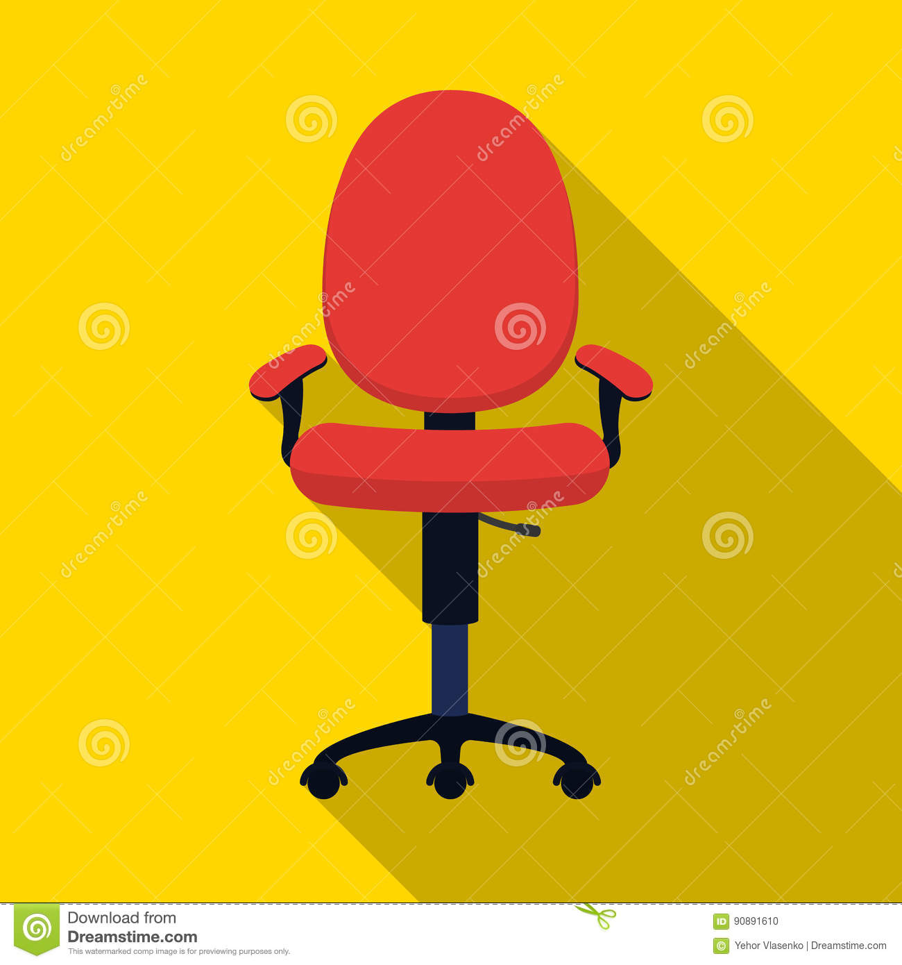 Office Chair Icon In Flat Style Isolated On White Background Furniture And Interior Symbol